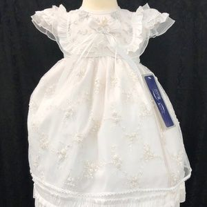 White cap sleeve 2 pc gown dress Bautizo Baptism